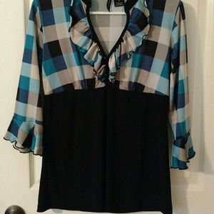 Tops - Checked ruffle blouse